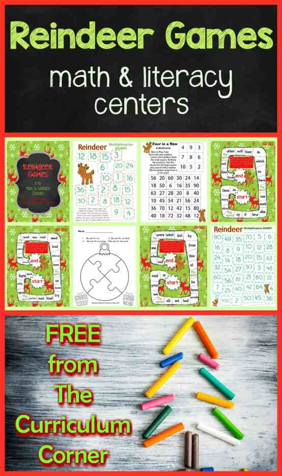 FREE! Reindeer Games Math & Literacy Centers from The Curriculum Corner 1st Grade 2nd Grade Christmas