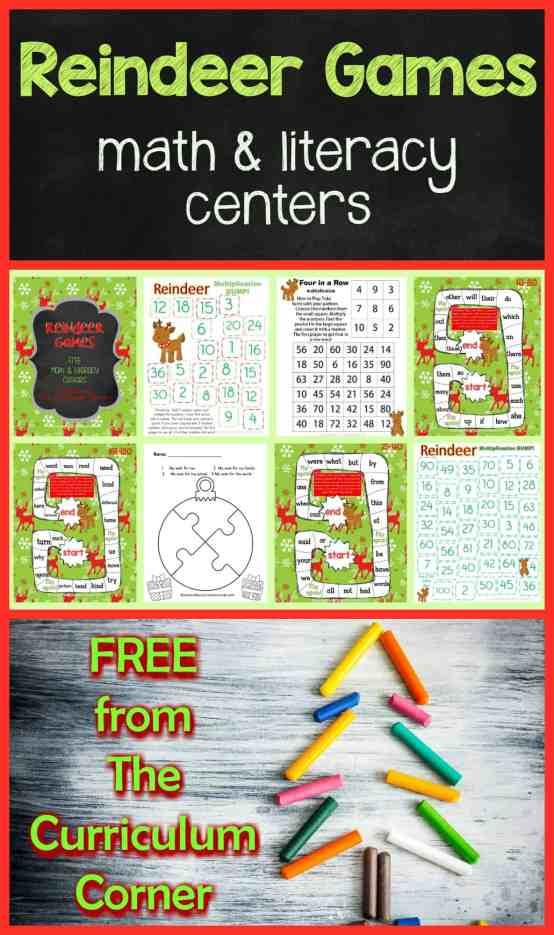 FREE! Reindeer Games Math & Literacy Centers from The Curriculum Corner 1st Grade 2nd Grade Christmas