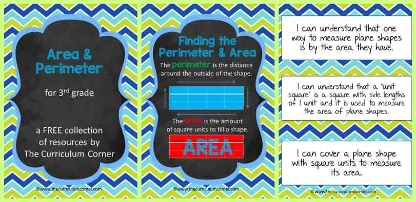 Area & Perimeter Collection of Resources for 3rd Grade FREE from The Curriculum Corner FREE!