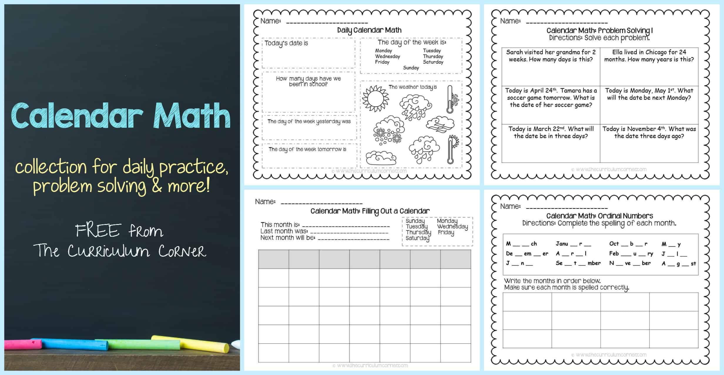 Free Calendar Math Activities From The Curriculum Corner