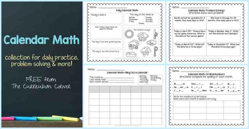 FREE Calendar Math Activities from The Curriculum Corner | calendar math journal | problem solving | anchor charts & more FREEBIE
