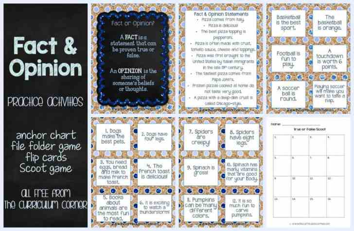 FREEBIE! Fact & Opinion Practice Activities from The Curriculum Corner