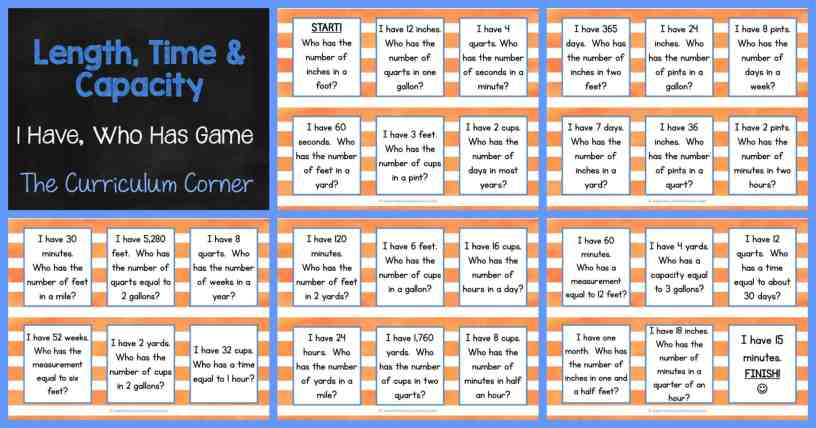 FREE Length, Capacity & Time Game - I Have, Who Has Activity FREEBIE from The Curriculum Corner
