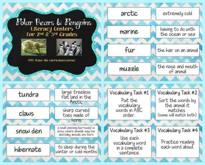 FREEBIE Polar Bears & Penguins informational text literacy centers from The Curriculum Corner
