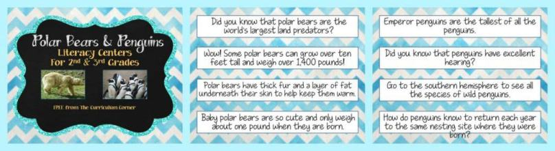 FREE Polar Bears & Penguins informational text literacy centers from The Curriculum Corner FREEBIE nonfiction