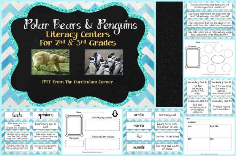 FREE Polar Bears & Penguins centers for informational text literacy centers from The Curriculum Corner FREEBIES