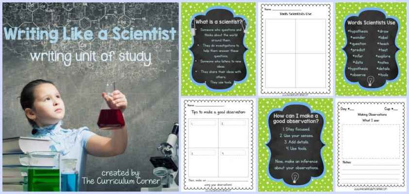 FREE Writing Like a Scientist Unit of Study for Writing Workshop from The Curriculum Corner | Observational Drawings | Taking Notes | Planning an Experiment | Science Journal