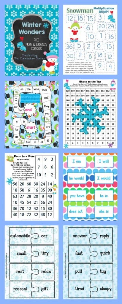 FREE Winter Centers for Math & Literacy from The Curriculum Corner math fact practice | Fry word games FREEBIE