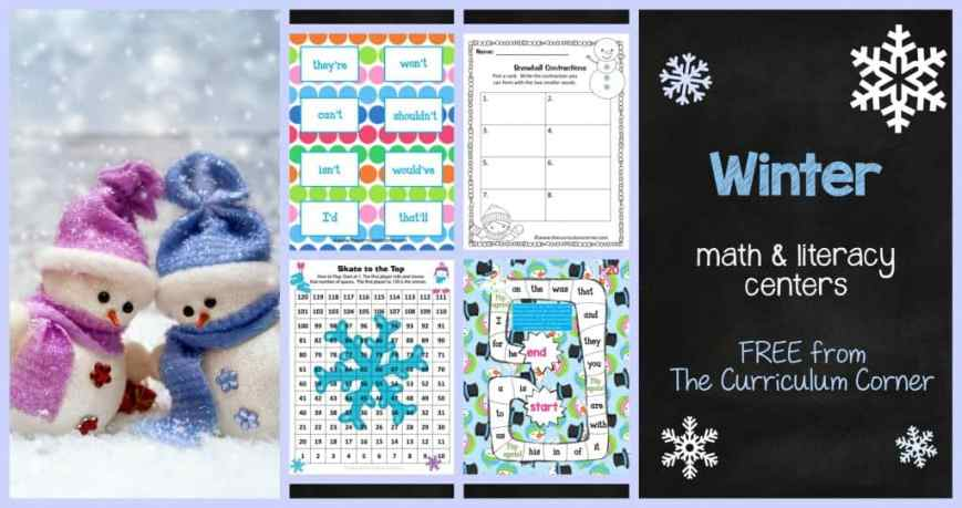 FREE Winter Math & Literacy Centers from The Curriculum Corner | Bump | Fry Words | Math Facts | Synonyms & Antonyms