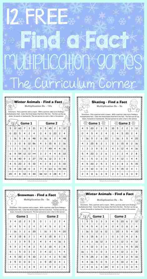 FREE Winter Themed Find a Fact Multiplication Games from The Curriculum Corner   Math Freebies   Math Fact Practice