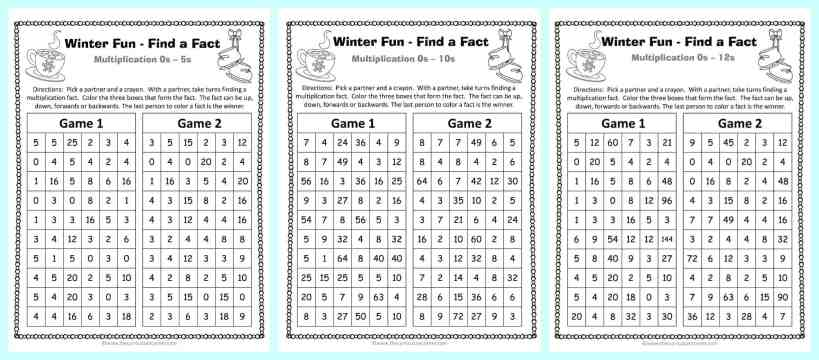 FREE Winter Themed Find a Fact Multiplication Games from The Curriculum Corner