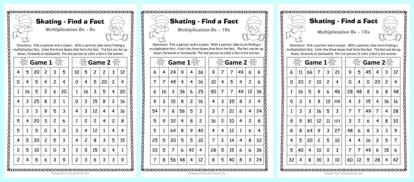 FREE Winter Themed Find a Fact Multiplication Games from The Curriculum Corner   Math Fact Fluency