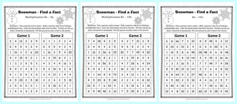 FREE Winter Themed Find a Fact Multiplication Games from The Curriculum Corner | Math Games