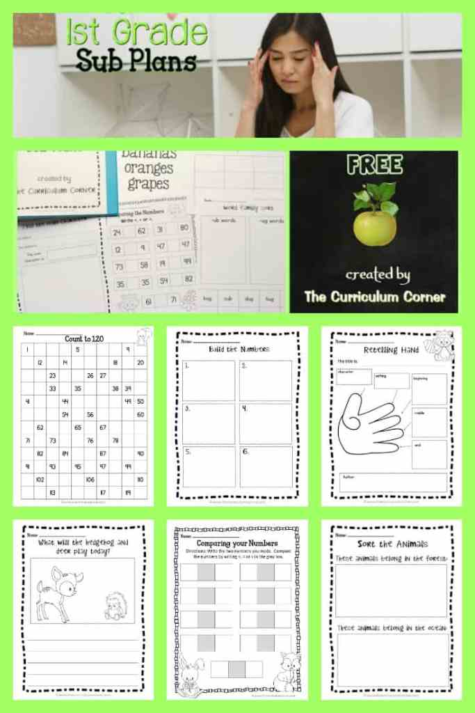 FREE 1st Grade Sub Plans from The Curriculum Corner | Emergency Sub Plans FREEBIE! Use to help you set up your own sub tub!
