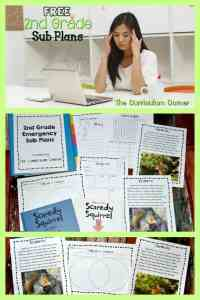 FREE new set of 2nd Grade Emergency Sub Plans from The Curriculum Corner
