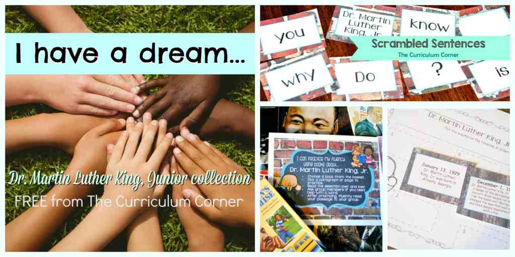 FREE collection of Dr. Martin Luther King, Jr. literacy resources created by The Curriculum Corner | Black History Month
