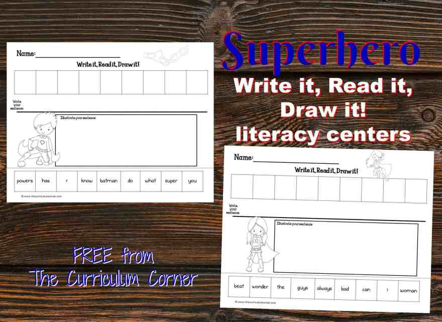 FREE Superhero Scrambled Sentences Literacy Center | Write it, Read it, Draw it scrambled sentences from The Curriculum Corner
