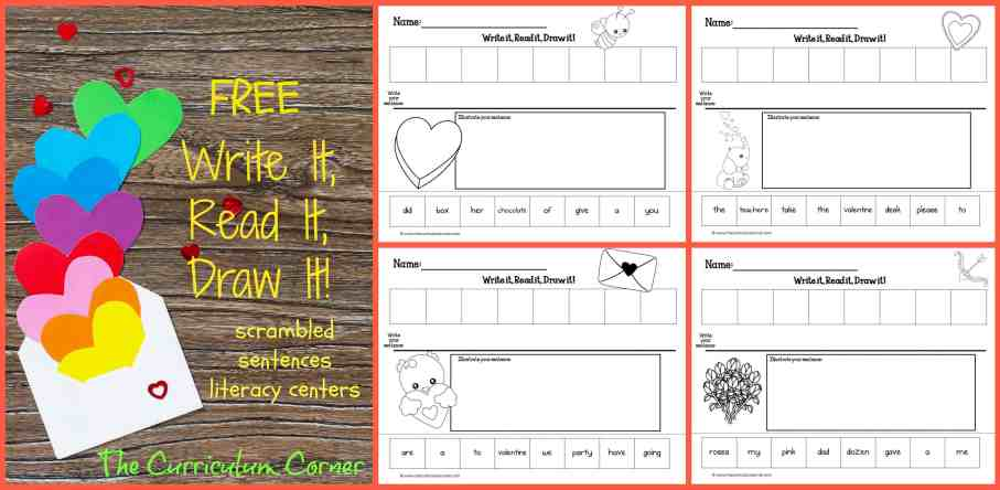 FREE Write It, Read It, Draw It Literacy Centers for Valentine's Day Scrambled Sentences from The Curriculum Corner