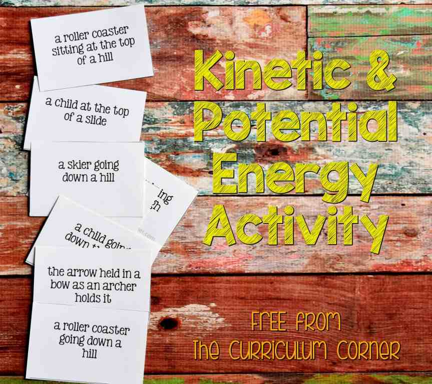 3rd Grade Emergency Sub Plans includes a kinetic and potential energy activity