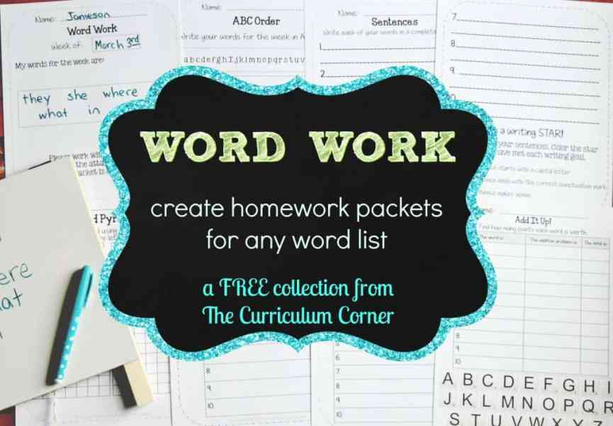 FREE Word Work Homework Packets to be used with ANY WORDS! FREE from The Curriculum Corner