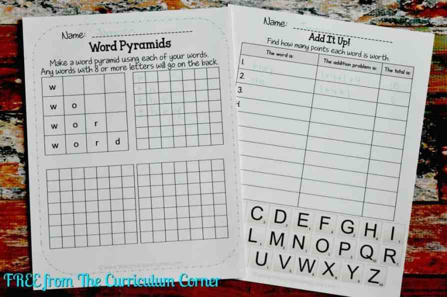 FREE Word Work for any Word List from The Curriculum Corner FREEBIE SET