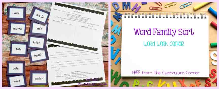 FREE Word Family Word Work Center free from The Curriculum Corner
