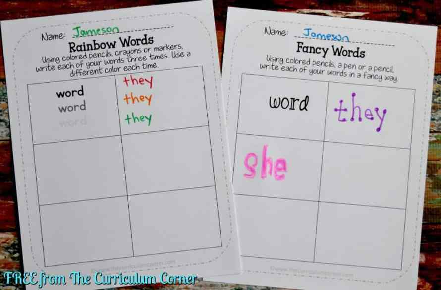 FREE Word Work for any Word List from The Curriculum Corner FREEBIE