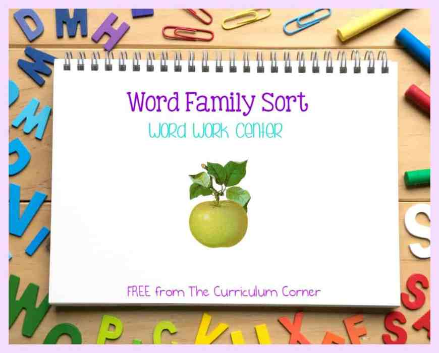 This word family sort activity can be a great to use as a center for your beginning readers who need practice with word families.