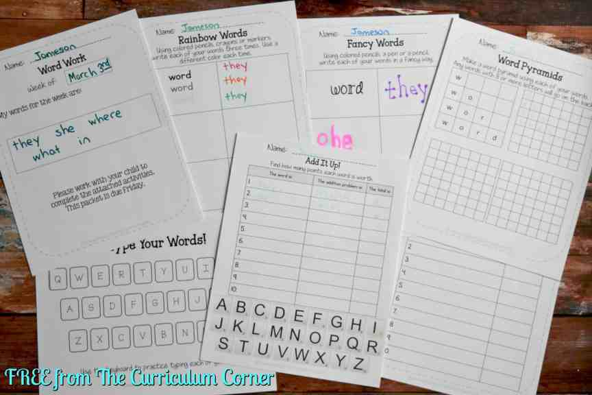 FREEBIE Word Work Homework Packets from The Curriculum Corner