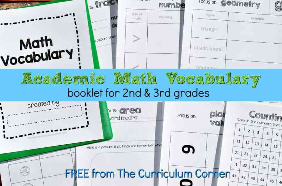 Academic Math Vocabulary Booklet - The Curriculum Corner 123