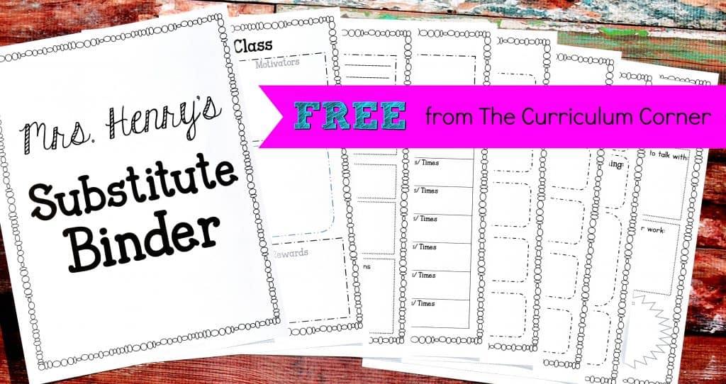 FREE Sub Binder From The Curriculum Corner