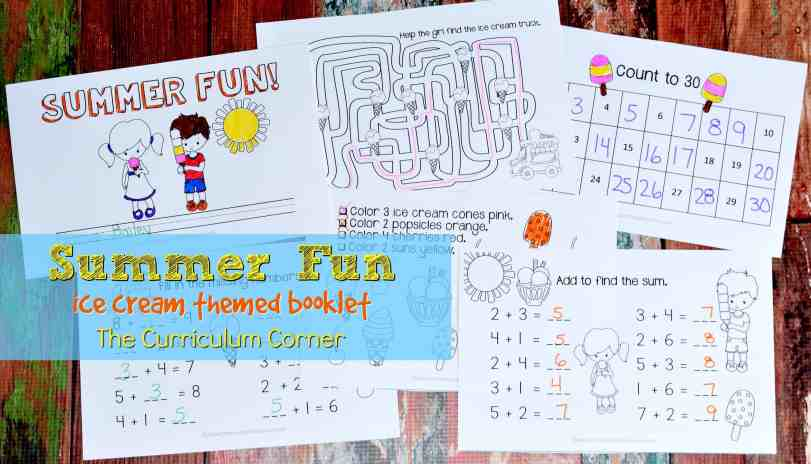 Summer Fun Book Ice Cream Themed Booklet FREE from The Curriculum Corner