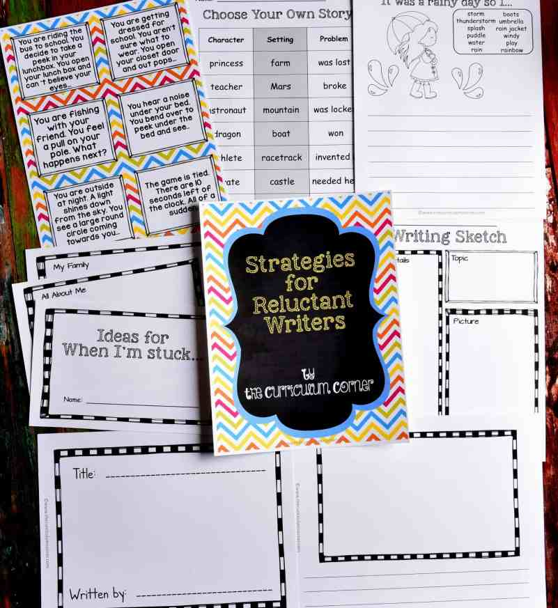 Strategies for Reluctant Writers with FREE Printables from The Curriculum Corner
