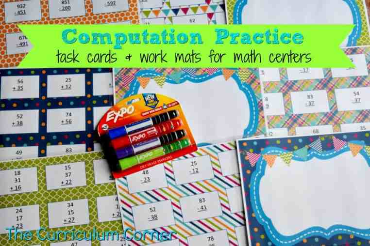 Subtraction & Addition Centers for Math Practice FREE from The Curriculum Corner 2