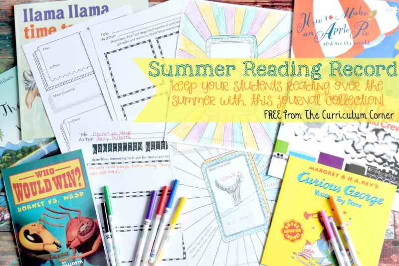 FREE Summer Reading Record Journal from The Curriculum Corner