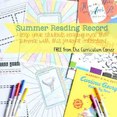 FREE Summer Reading Record Journal from The Curriculum Corner 5