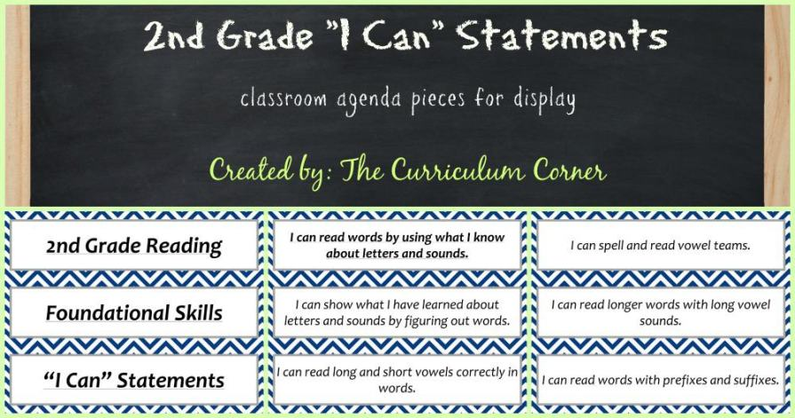 FREE 2nd Grade Kid Friendly Standards from The Curriculum Corner   NOT Common Core Many Resources Available   Agenda Pieces
