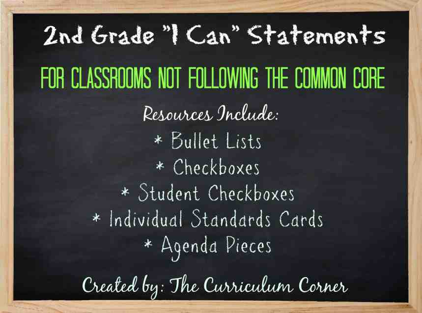 FREE 2nd Grade Kid Friendly Standards from The Curriculum Corner | NOT Common Core Many Resources Available 2