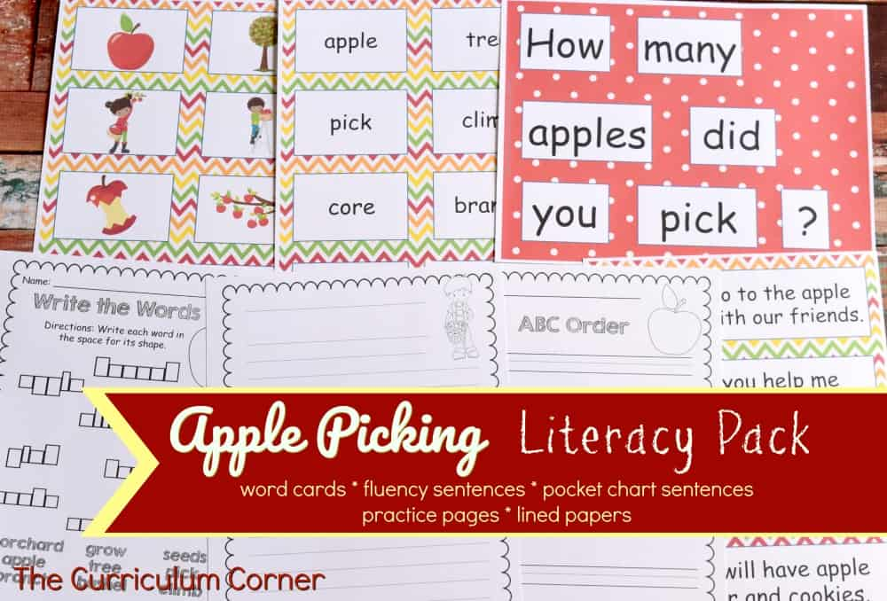FREE Apple Picking Literacy Set from The Curriculum Corner