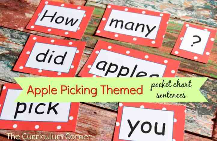 FREE Apple Picking Word Work from The Curriculum Corner | Apple Word Work