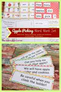 FREE Apple Picking Word Work from The Curriculum Corner