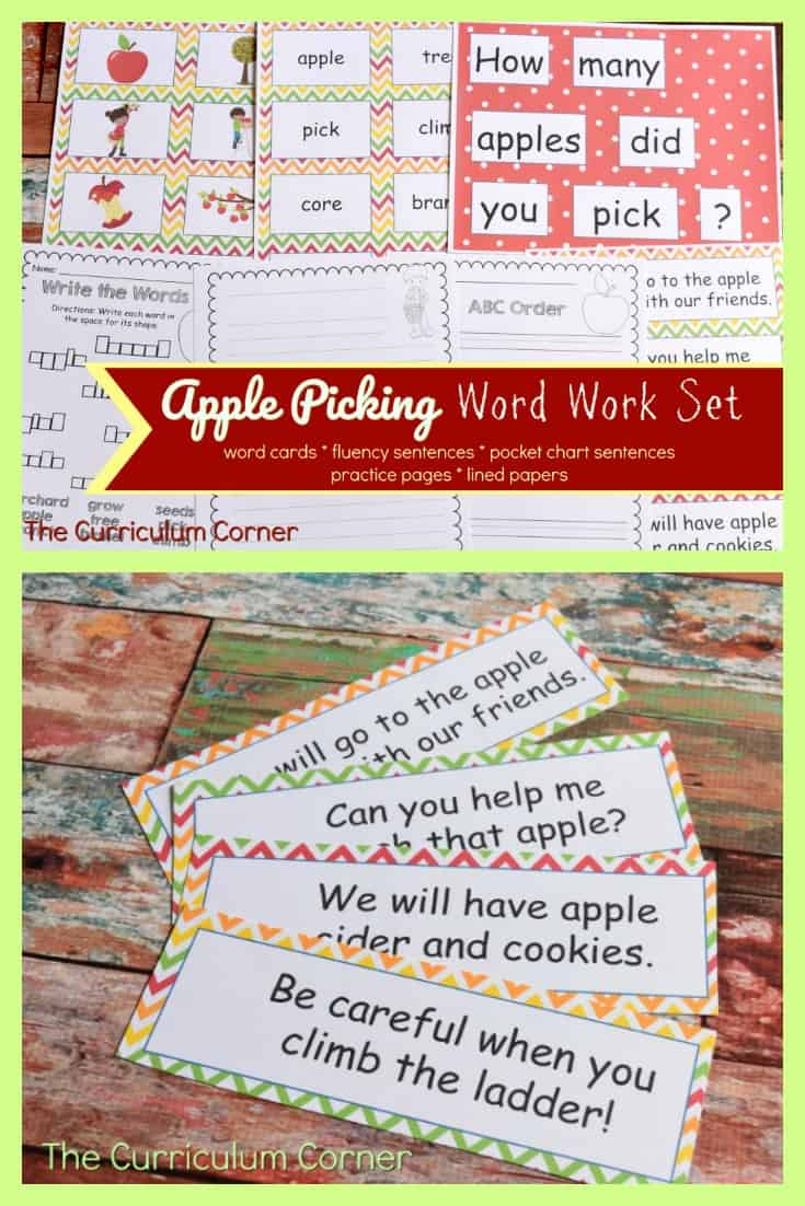 FREE Apple Word Work Set - Write the room, fluency sentences, pocket charge sentences & more! Created by The Curriculum Corner