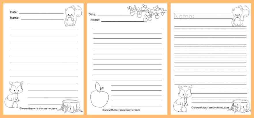 fall lined writing papers the curriculum corner   fall lined papers for writing workshop from the curriculum corner 2