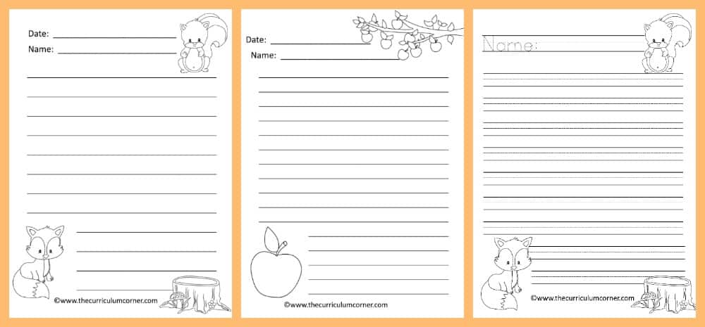 FREE Fall Lined Papers For Writing Workshop From The Curriculum Corner 2  Lined Papers