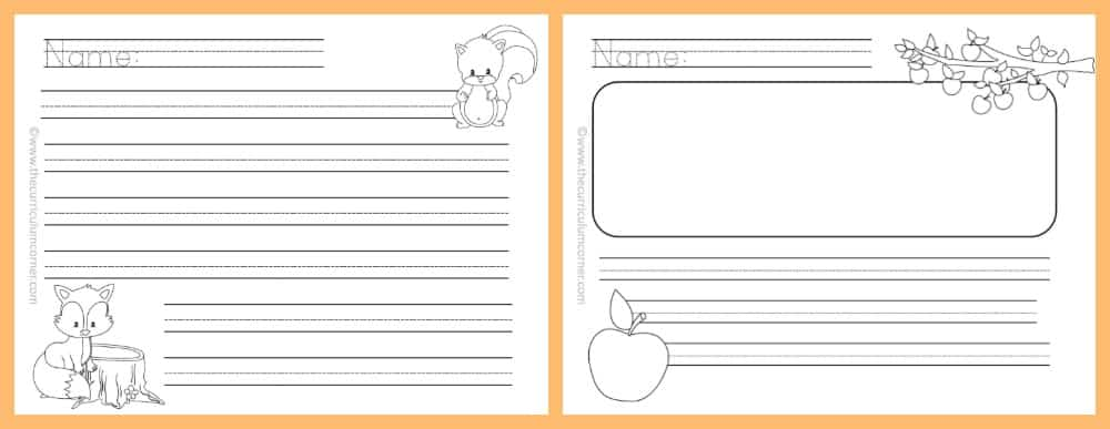 FREE Fall Lined Papers For Writing Workshop From The Curriculum Corner 5  Lined Papers