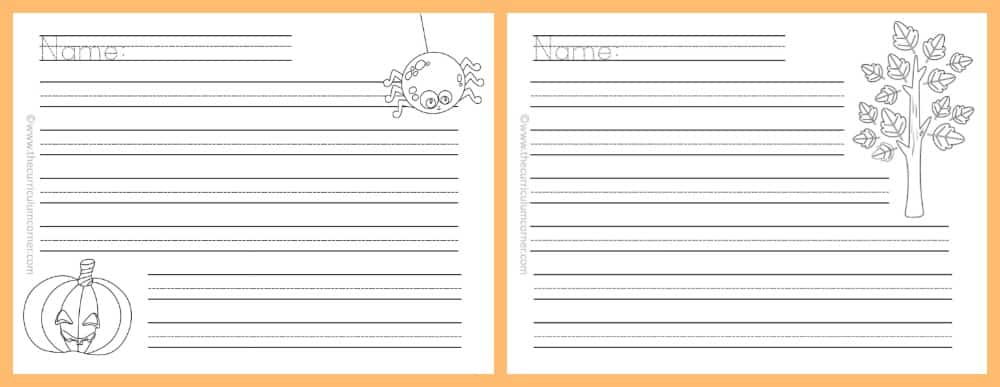 FREE Fall Lined Papers For Writing Workshop From The Curriculum Corner 6  Lined Papers