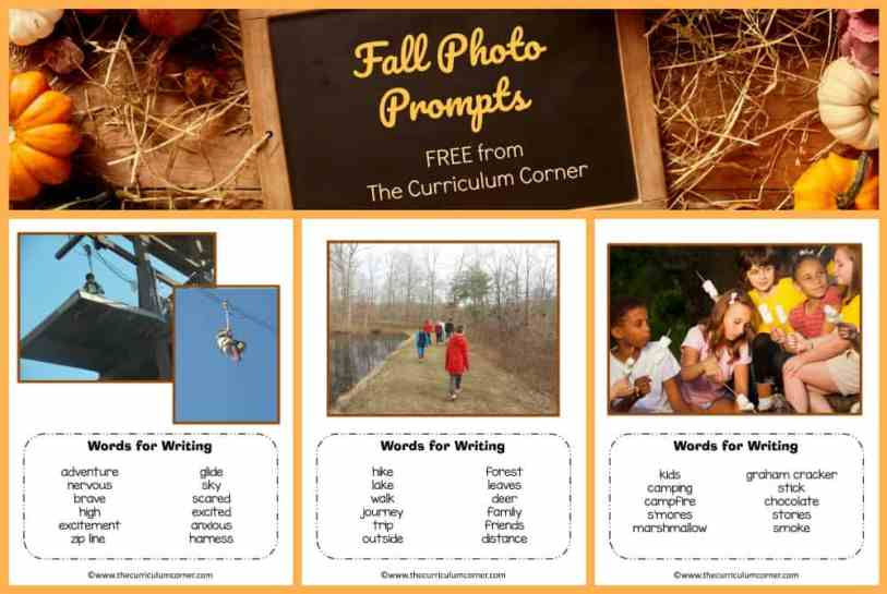 FREE Fall Photo Prompts for Writing from The Curriculum Corner