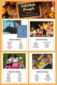 FREE Fall Photo Prompts for Writing from The Curriculum Corner 3