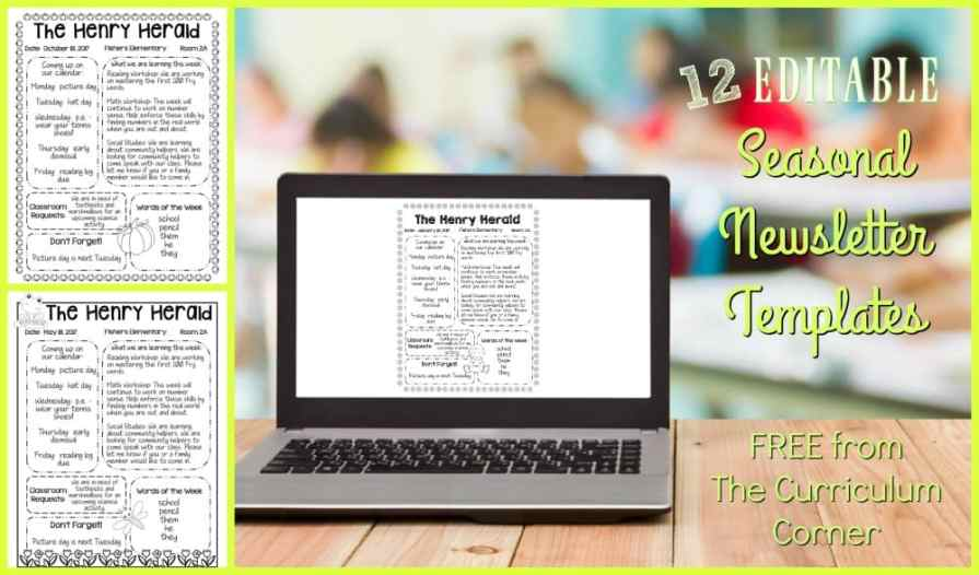 editable seasonal newsletter templates the curriculum corner 123