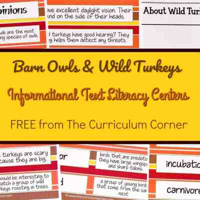 FREE Owls & Turkeys Informational Text Literacy Centers from The Curriculum Corner 3